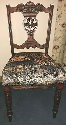 Antique wooden carved side/hall/desk/bedroom chair with newly upholstered seat