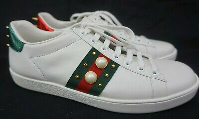 282762df2fd Gucci  New Ace  Pearl Spike Low Top Women s White Sneakers Shoes Size 38