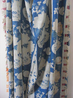 Antique Alcobaca Early Chinese Dutch Design Fabric Textile Portugal Rare Large