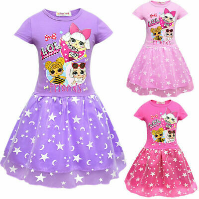 LoL Surprise Dolls Dress Kids Girls Layered Mesh Party Birthday Princess Dresses