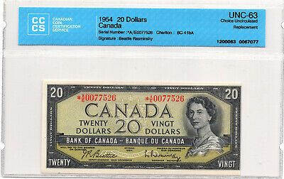 1954 $20 Bank of Canada Note BC-41bA Tough *A/E Replacement - CCCS UNC-63