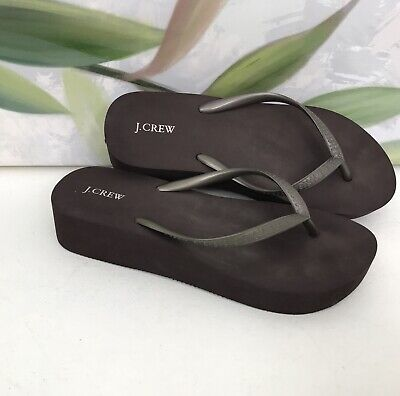 28bfce5ef J.Crew Women s Flip Flops Brown Bronze Skinny Wedge Sandals ...