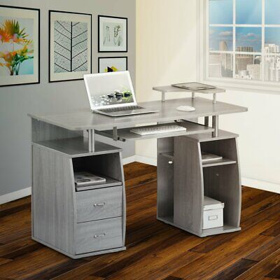 Modern Computer Desk with 2 Storage Drawers & Pullout Keyboard Tray in Gray
