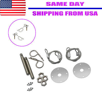 Racing Style Stainless Steel Mount Hood Pin Pins Plate Bonnet Lock Kit Universal