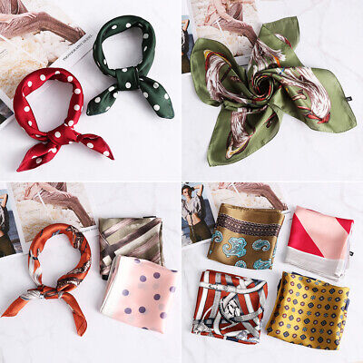 Gifts Small Vintage Women Square Scarf Head Neck Silk Feel Satin Hair Tie Band