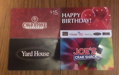 Lot of 4 Different Food & Restaurant Gift Cards -Collectible Only-