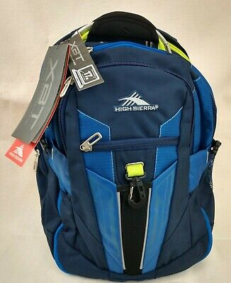High Sierra XBT Laptop Backpack Blue Adjustable Straps Compartments NEW