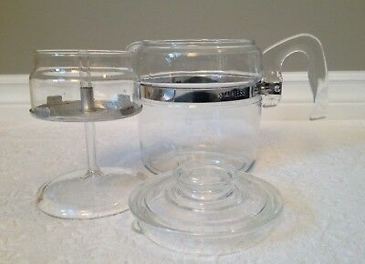 Vintage PYREX '53-79; FLAMEWARE Near-Complete Coffee Percolator; 6-Cup 7756