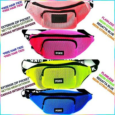 3db0bf05f4d43 VICTORIA'S SECRET PINK Mesh Belt Bag Crossbody Fannypack ⁴Hair Ties Neon  Flawles