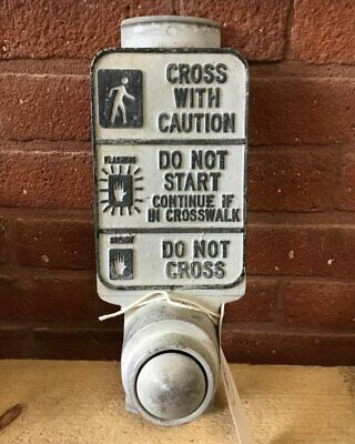 Vintage Gray Pedestrian Crossing Sign-push button traffic signal light.