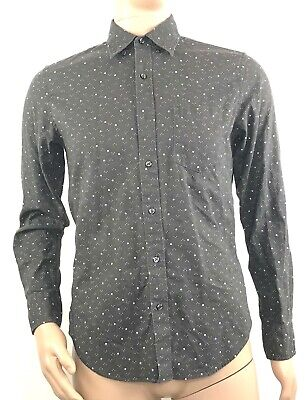 7f58abdd J.CREW Mens Slim Fit Button Down Shirt Grey Dotted Size Small Linen / Cotton