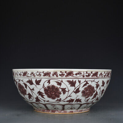 "15"" Chinese old Porcelain Ming hongwu Underglaze red interlock branch peony bowl"