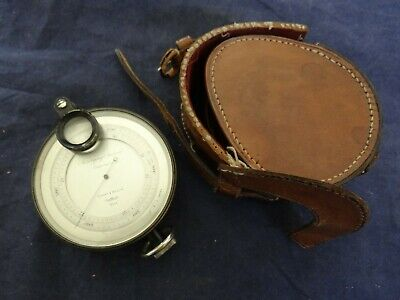 Antique Short & Mason Pocket Surveying Aneroid Compensated Barometer With Case
