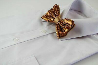 Mens Gold Sequin Pattern Bow Tie Pre-Tied Men Bowtie Wedding Formal Ties Tuxedo