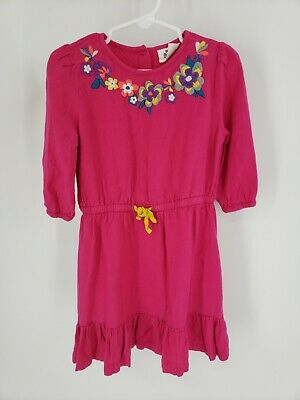 Girls Mini Boden Pink Dress 5-6 Y Floral Embroidered Flowers Floral