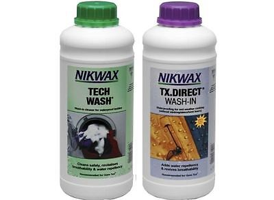 Nikwax Tech Wash & TX Direct 1 Litre Twin Pack Cleaning Waterproof Outdoor Coats