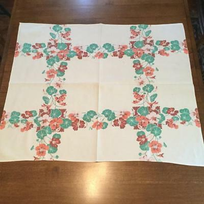 """Vintage Tablecloth Brown Peach Salmon Teal Flower Floral Small 37 """" W x 31 """" L"""