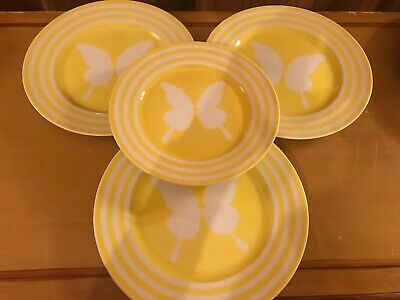 4 Plates Fitz & Floyd PAPILLION YELLOW White Butterfly 3 SALAD & 1 BREAD BUTTER