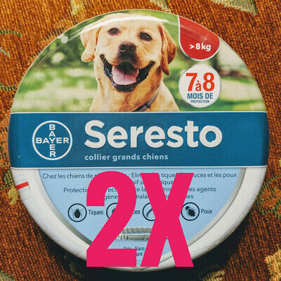 (2) LARGE SERESTO Flea & Tick 8 Month Collar for Large Dogs over 18 lbs