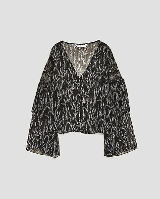 Zara Combined Blouse Top Sheer Ruffled Long Sleeves Black White Floral