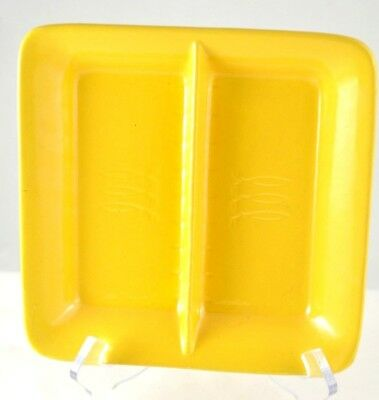 Vintage STANGL Square Yellow divided Candy/Snack DISH, USA,relish tray,pottery