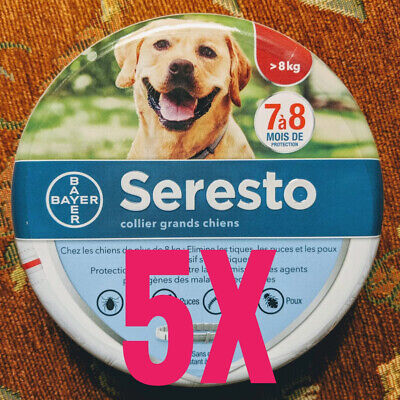 (5) LARGE SERESTO Flea & Tick 8 Month Collar for Large Dogs over 18 lbs