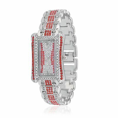 4daac9b78 STRADA Red Austrian Crystal Japanese Movement Watch in Silvertone with  Stainless
