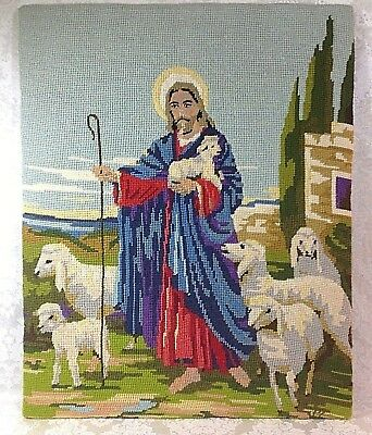 """Vtg Artistic Completed Needlepoint - """"Jesus The Good Shepherd With His Sheep"""""""