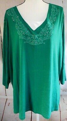 Plus Size 4X Green with White Design 3/4 Sleeve Cotton Blend Top Falls Creek
