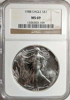 1988 American Silver Eagle $1 Coin NGC MS69
