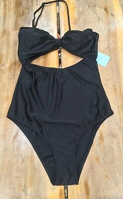 Cupshe Cut To It Shell Scalloped Black One Piece Womens Swimsuit Sexy Size Large