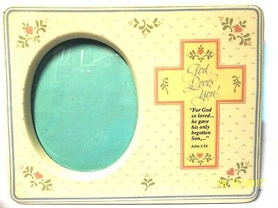 "Baby Frame GOD LOVES YOU John 3:16 5-3/4"" x 4-3/8"" NEW"