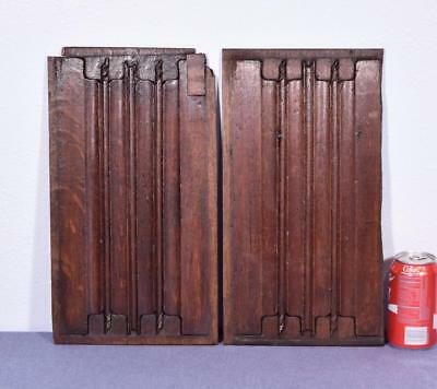 Pair of Antique Gothic Revival Solid Oak Wood Panels w/Linen Fold Carvings