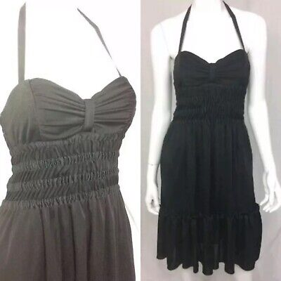 $325 Betsey Johnson Black Stretchy Jersey Ruched Halter PinUp Rockabilly Dress S