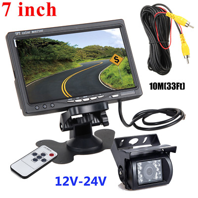 "Wired IR Rear View Backup CCD Camera Night Vision +7"" Monitor For RV Truck Kit"