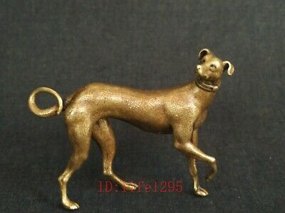 Collected Old China Copper Sculpture Lovely Dog Statue Decoration Wonderful Gift