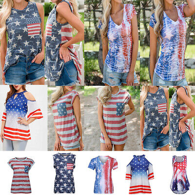 860da272cc966 WomensStar American Flag the old glory Print Shirt Vast Tank Casual Top  Blouse