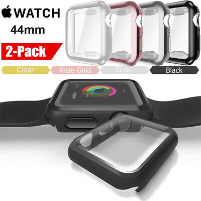 For Apple Watch Series 4 44mm Case Soft TPU Plated Screen Protector Rugged Cover