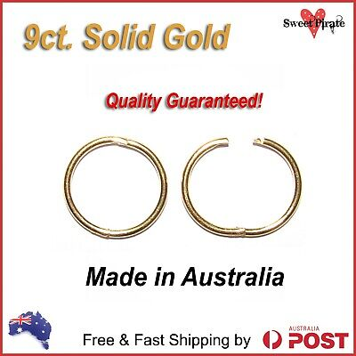 9ct Solid Gold Sleepers Hinged Non-Allergenic Aussie Made 2 Styles Guaranteed
