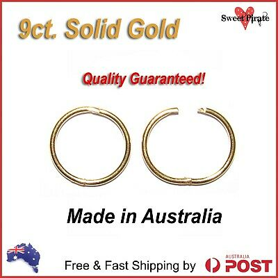 9ct Solid Gold Sleepers Hinged Non-allergic 9kt Aussie Made 8mm 10mm 12mm 14mm