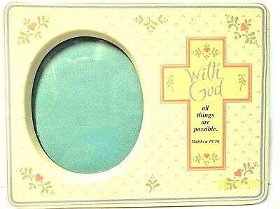 "Baby Frame WITH GOD ALL THINGS ARE POSSIBLE Matthew 19:26, 5-3/4 x 4-3/8"" NEW"