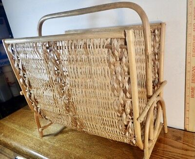 Vintage Bent Bamboo & Woven Wicker Rattan Magazine Rack Stand Mcm