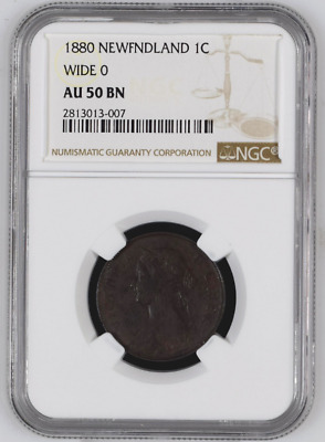 "1880 1C Canada Newfoundland ""Wide 0"" One Cent NGC AU-50 BN Free Shipping!"