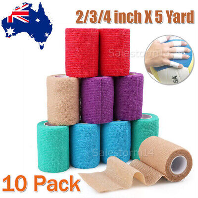 10pcs Self-adhesive cohesive Bandage Wrap Handle Sport Grip Cover 10m*4.5cm AU