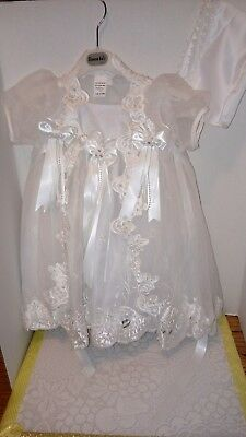 Baby Girl Baptism Christening Gown Party Formal  Dress White Sequins Sz 0 EUC