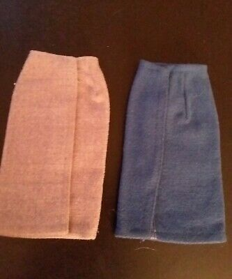 Vintage Barbie Blue and Gray Flannel Pencil Skirts Knitting Pretty Sweater Girl
