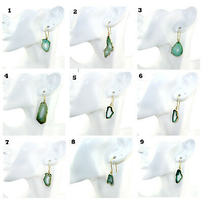 Green Window Natural Geode Druzy Agate Gold Plated Earring Women Fashion Jewelry