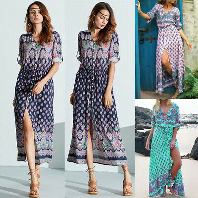 Fashion Womens Hawaii Boho Floral Sundress Holiday Beach Party Long Maxi Dress