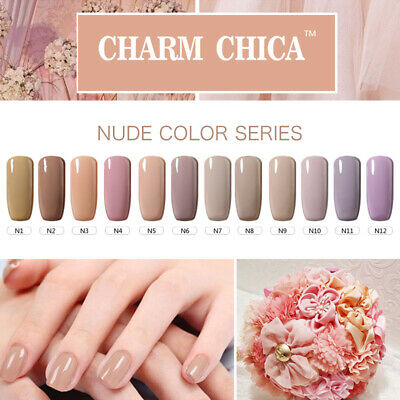 CHARM CHICA Nude Series Color UV Gel Nails Polish 6ml Soak Off Gel Lacquer Nail