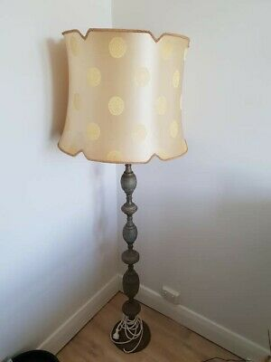 Vintage decorative brass floor lamp stand and Oriental gold colour lampshade